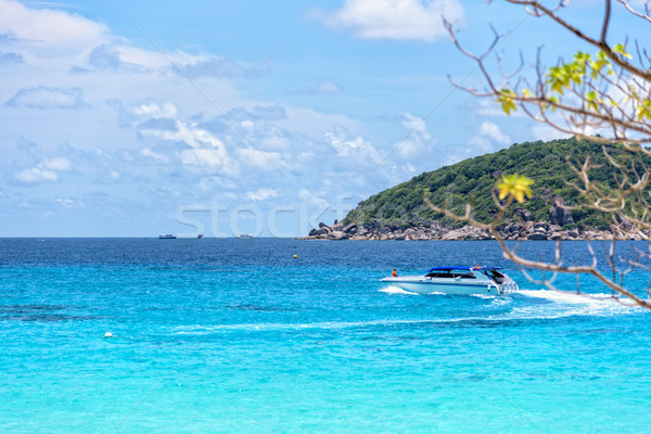 Mavi deniz Tayland güzel manzara hızlandırmak Stok fotoğraf © Yongkiet