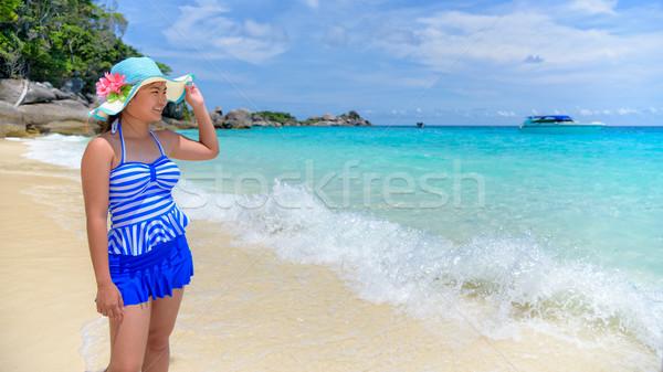 Beautiful woman on beach in Thailand Stock photo © Yongkiet