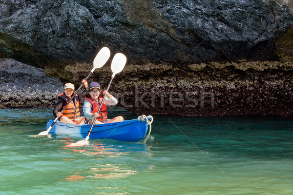 Mother and daughter on kayak Stock photo © Yongkiet
