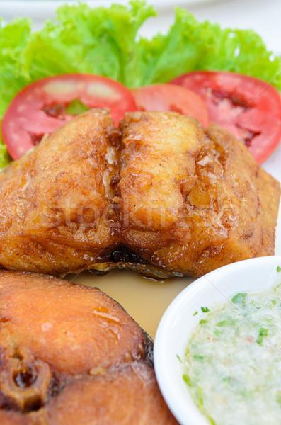 Sült hal thai étel stílus király makréla Stock fotó © Yongkiet