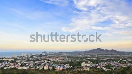 Colorful sky over the Hua Hin city Stock photo © Yongkiet