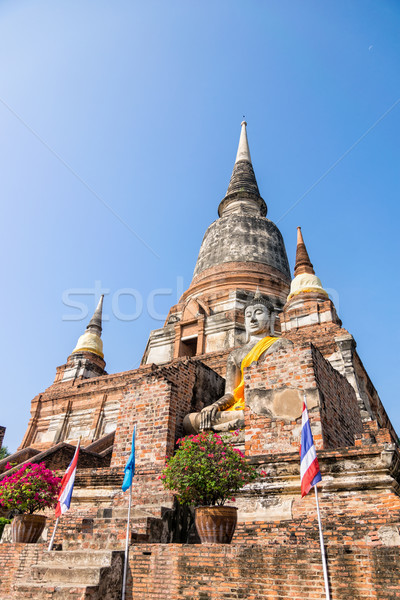 Buddha statue and ancient pagoda Stock photo © Yongkiet