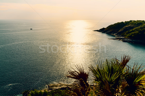 High angle view island and sea at Laem Phromthep on green teal colour tone Stock photo © Yongkiet