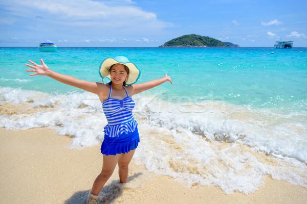 Mooie vrouw strand Thailand gestreept Blauw Stockfoto © Yongkiet