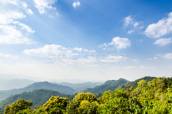 High angle view blue sky over mountain Stock photo © Yongkiet