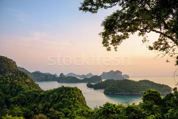 Nascer do sol correia ver ilha belo Foto stock © Yongkiet