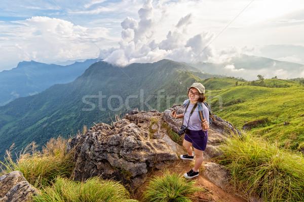 Girl tourist scenic mountains Stock photo © Yongkiet