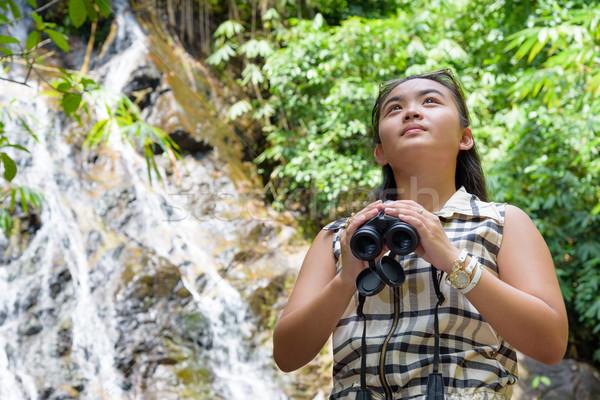 Nina binoculares forestales hermosa joven senderismo Foto stock © Yongkiet