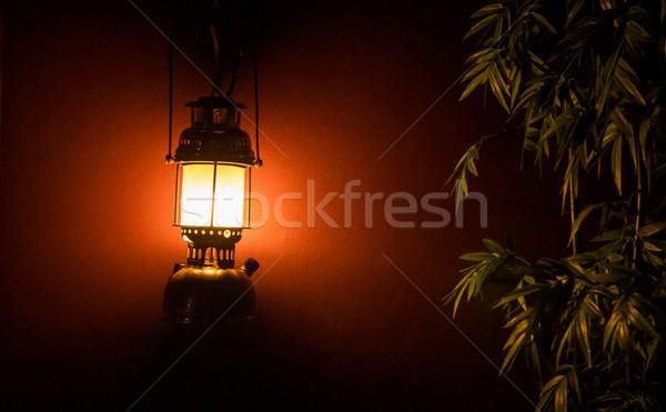 Fény lámpás fal fa éjszaka háttér Stock fotó © Yongkiet