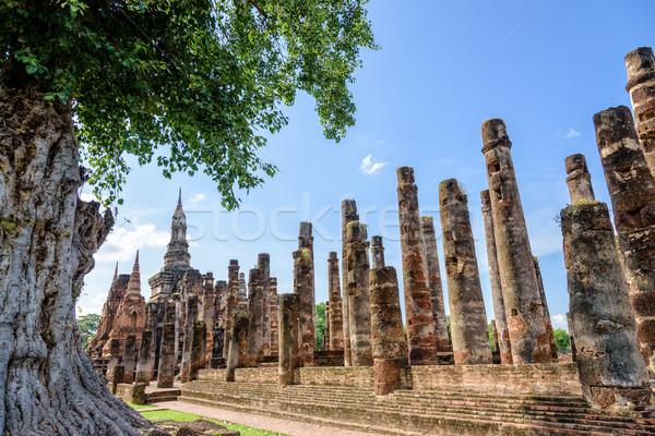 Foto d'archivio: Antica · pagoda · albero · rovine · cielo · blu