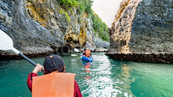 Group of tourists on a kayak Stock photo © Yongkiet