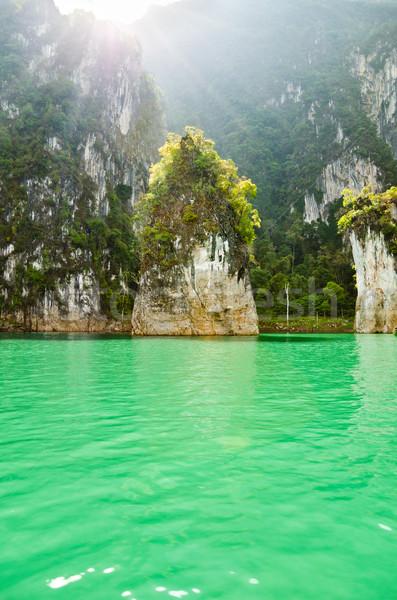Beautiful island and green lake ( Guilin of Thailand ) Stock photo © Yongkiet