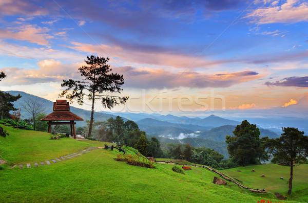 Sunset at hight mountains Stock photo © Yongkiet