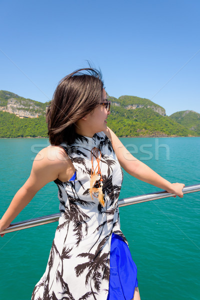 Young woman on the boat Stock photo © Yongkiet