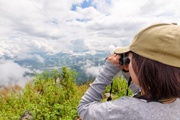 Tourist on Doi Pha Tang view point Stock photo © Yongkiet