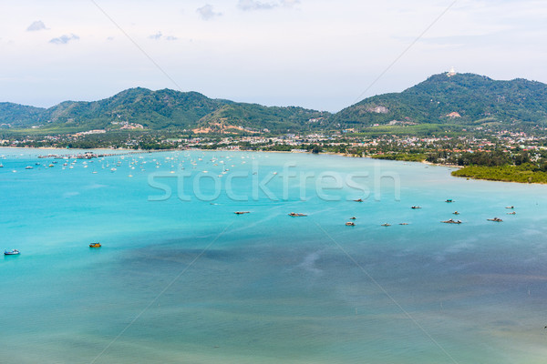 View sea and pier for travel boat in Phuket Island, Thailand Stock photo © Yongkiet
