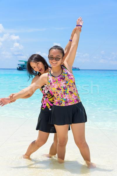 матери дочь пляж Таиланд женщины Сток-фото © Yongkiet