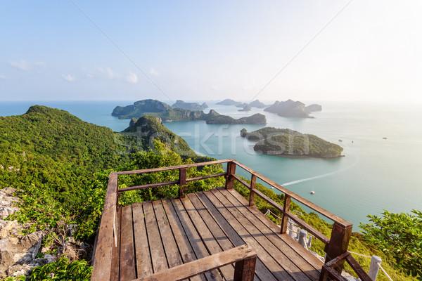 Podium viewpoint on peak mountain Stock photo © Yongkiet