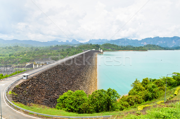 Scenic point of green lake at Ratchaprapha Dam Stock photo © Yongkiet