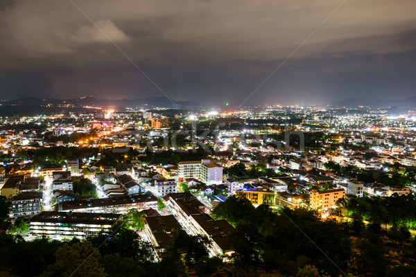 High angle view Phuket province at night Stock photo © Yongkiet