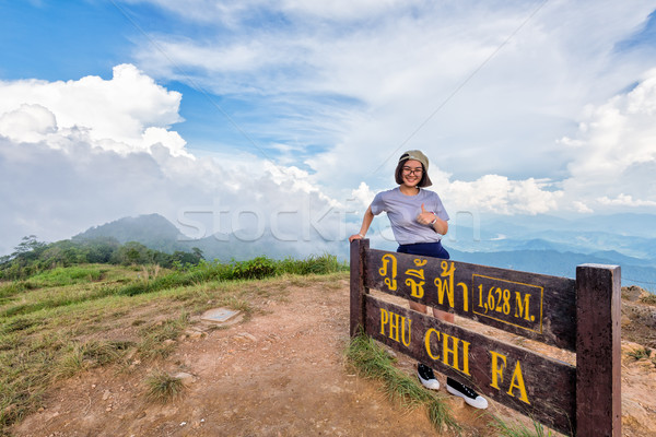 Tourist teen girl on Phu Chi Fa mountain Stock photo © Yongkiet