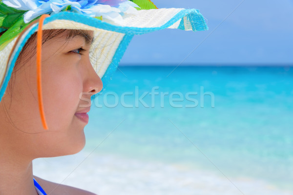 Happy girl on the beach at Thailand Stock photo © Yongkiet