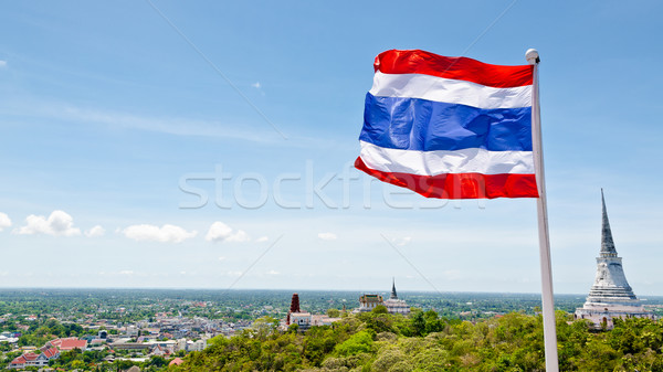 Thai flag waving in the wind Stock photo © Yongkiet