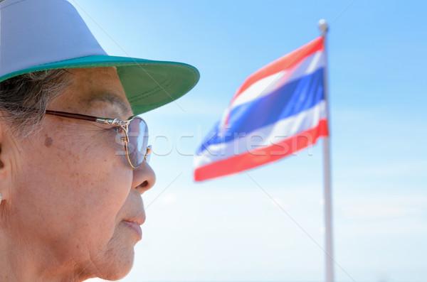 Yüz eski kadın Taylandlı insanlar yan Stok fotoğraf © Yongkiet