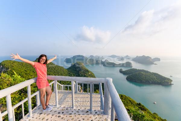 Stok fotoğraf: Kadın · turist · ada · balkon · görmek