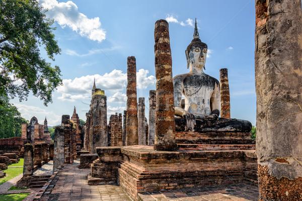 Buda heykel ören eski oturma parlak Stok fotoğraf © Yongkiet