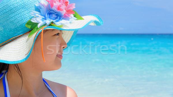 Happy girl on the beach at Thailand Stock photo © Yongkiet