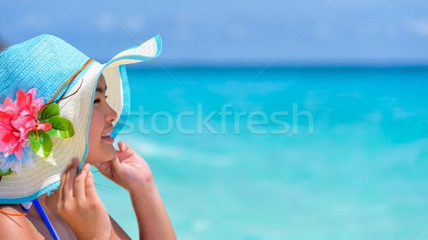 Arc nő boldog tenger Thaiföld fiatal nő Stock fotó © Yongkiet