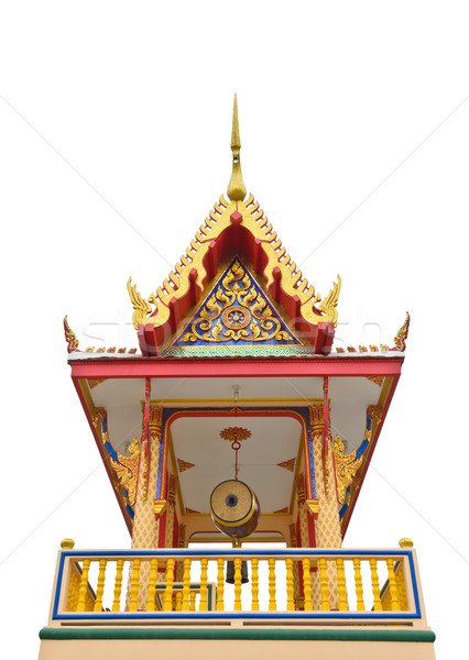Campanile of thai temple isolated on white
