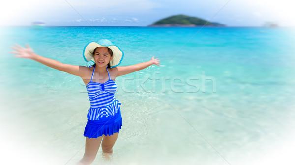 Blur vrouw strand Thailand mooie vrouw Blauw Stockfoto © Yongkiet