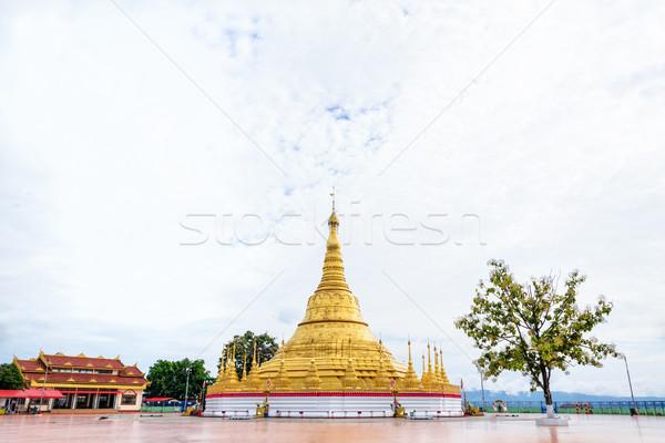 Pagode mooie gouden toeristische attractie thai grens Stockfoto © Yongkiet