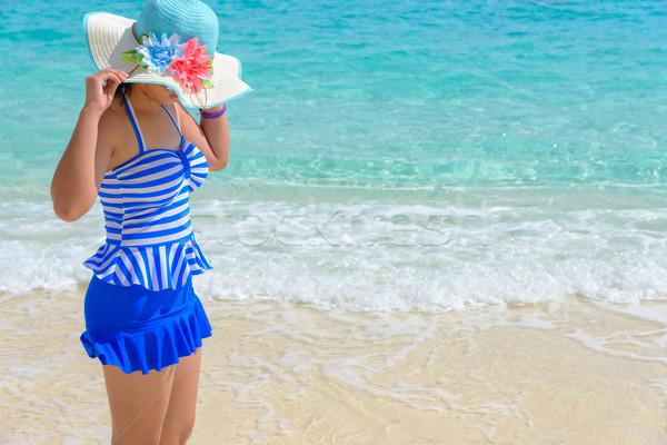 Menina praia Tailândia turista azul branco Foto stock © Yongkiet