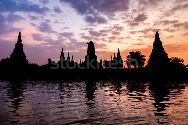 Silhouette of Wat Chaiwatthanaram Stock photo © Yongkiet