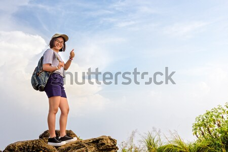 Tourist teen girl on Phu Chi Fa mountain Stock photo © Yongkiet
