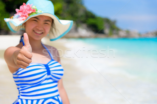 Girl on the beach at Thailand Stock photo © Yongkiet