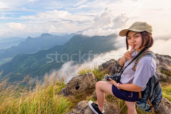 Hiker girl with happy on Phu Chi Fa Mountain Stock photo © Yongkiet