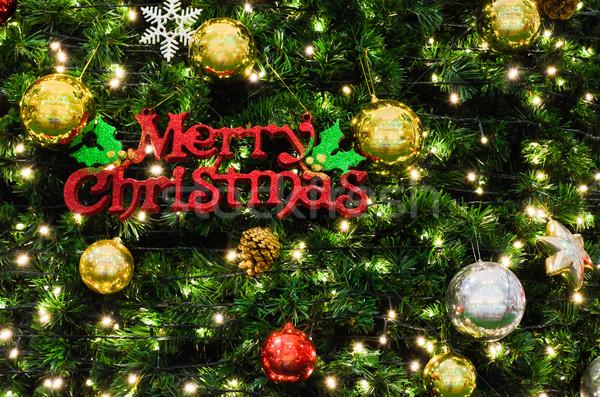 Vrolijk christmas teken boom ingericht licht Stockfoto © Yongkiet
