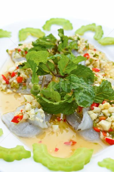 Vers garnalen zeevruchten eten gekruid saus Stockfoto © Yongkiet