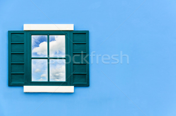 Gökyüzü yansıma pencere cam bulut yeşil Stok fotoğraf © Yongkiet