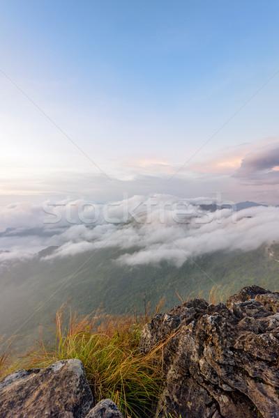 自然 日の出 山 タイ 美しい 風景 ストックフォト © Yongkiet
