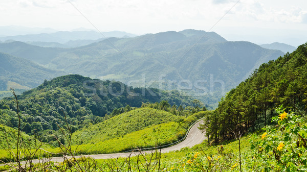 Landscape high mountain range at viewpoint Doi Mae U Ko Stock photo © Yongkiet