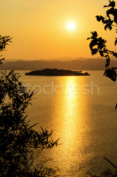High angle view beautiful lake and island at sunset Stock photo © Yongkiet