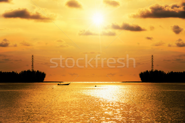 Stockfoto: Silhouet · hoogspanning · elektriciteit · zonsondergang · zee · mooie