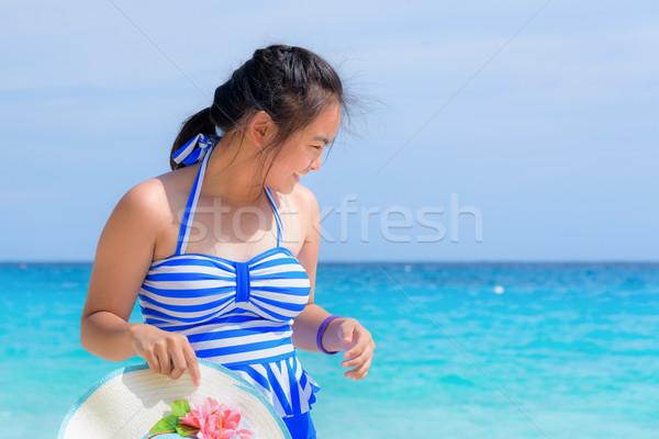 девушки пляж Таиланд туристических синий белый Сток-фото © Yongkiet