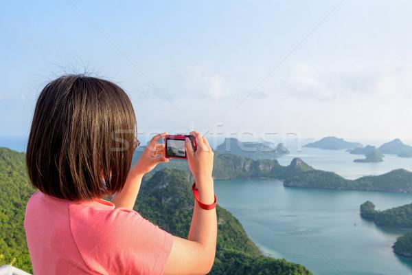 Vrouw foto's toeristische eiland Stockfoto © Yongkiet