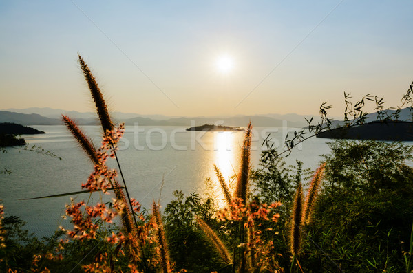 Landscape of the lake at sunset. Stock photo © Yongkiet